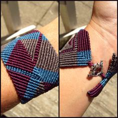 Wide macrame cuff 3 colors aysstmetrical cheveron by Knotology