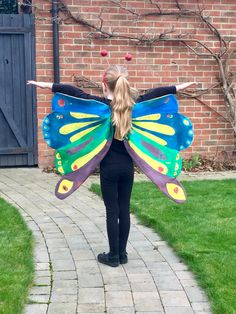 Eric Carle costume - beautiful butterfly. Home made for world book day 2017 using fabric paints, calico and a little assistant painter!