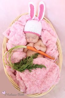Well how cute is this. Little baby, swathed in a plush blanket (blue or white for Alex)...with a carrot.