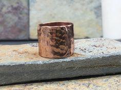 Men's Hammered Copper Adjustable Ring by NurturedWorks on Etsy