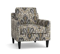 Beverly Upholstered Armchair, Polyester Wrapped Cushions, Ikat Geo Gray