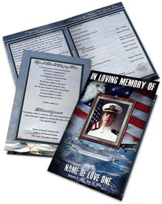 Order of Service Obituary Template Navy 01 Brochure. For more Funeral Program Templates and Thank You note/Card samples and other memorial design templates for different themes please visit us:  https://funeralparlour.com