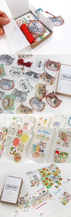 Give a gift you'd be happy to give & receive with this adorable kitty deco set! It features tons of cute kitties in a variety of activities so you can add a fun & quirky touch to any gift. With 10 mini cards, 20 gift tags, & 70 pieces of charming stickers, you're sure to put a smile on your loved ones' faces when they receive your thoughtful gift~ =^.^=