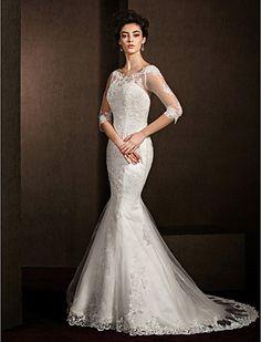 Trumpet/Mermaid Scoop Court Train Lace Wedding Dress (1798934) - USD $ 269.99