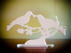 Bird Cake Topper WHITE Lovebird Keepsake Snowy von BungalowGlow, $26.00