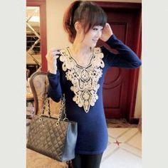 Ladylike Retro Style V-Neck Long Sleeves Solid Color Jacquard Embellished Women's Knitwear 12.00