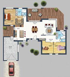 Plan de maison plein pied en v maison pinterest for Plan maison neuve contemporaine
