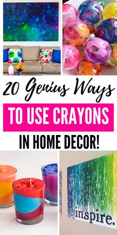 20 Creative and Genius Ways To Use Crayons In Home Decor. From wall art to transforming crayons into candles and even Christmas bulbs. Let me share all the ways you will want to run out and grab an extra box of crayons. #crayons #crafts #diy #homedecor #ideas #genius #easy #walldecor #candles #ornaments #projects #adults