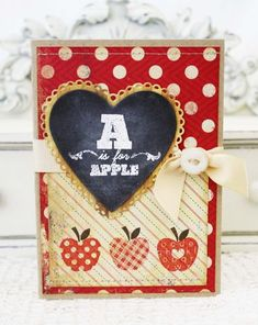 A Is For Apple Card by Melissa Phillips for Papertrey Ink (June Cars Card Making Inspiration, Making Ideas, Teacher Cards, Teacher Gifts, Teacher Notes, Diy Christmas Tags, Card Tags, Paper Cards, Creative Cards