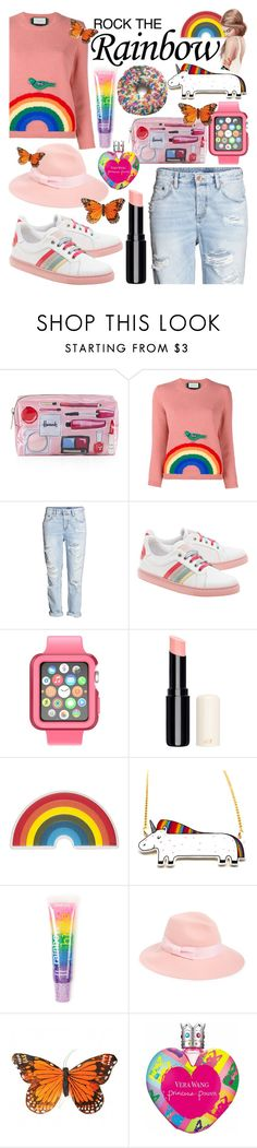 """""""Rock the Rainbow"""" by artistiq0112 ❤ liked on Polyvore featuring Harrods, Gucci, RED Valentino, Speck, Anya Hindmarch, claire's, August Hat and Vera Wang"""