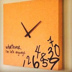 I want this clock!! Always Late, Office Accessories, Diy Inspiration, Casa Ideal, Decorative Pillows, Home Kitchens, Office Decor, Sweet Home, Room Decor