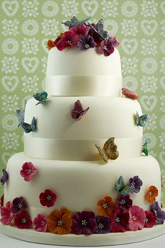 3 tier 'Colourful Country' Flower and Butterflies. Ivory: 11″, 8″ and 5″
