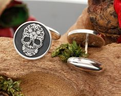 Sugar Skull Mens Cufflinks Silver - MyPersonalJewellery.co.uk