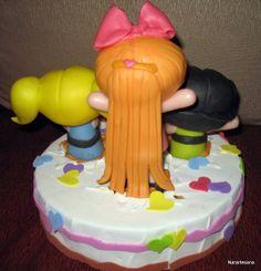 Las Chicas Superpoderosas, adornos para torta realizados en Porcelana Fría / The Powerpuff Girls cake topper made of Cold Porcelain