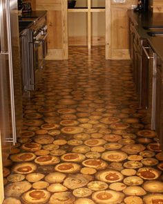 End grain flooring kitchen