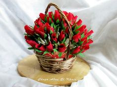 Red chocolate crepe flowers. Chocolate Crepes, Red Chocolate, Chocolate Flowers, Chocolate Bouquet, Candy Bouquet, Wicker Baskets, Handmade, Decor, Decoration