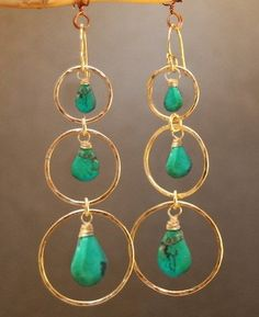 Hammered circle earrings with turquoise Siren 201
