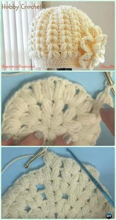 Crochet Baby Hats Crochet Puff Stitch Beanie Hat Free Pattern [Video] - Crochet Beanie Hat Free Patterns - DIY Crochet Beanie Hat Free Patterns (Baby Hat Spring Hat Winter Hat), adjust the color and size for different ages and sex. Crochet Beanie Hat Free Pattern, Bonnet Crochet, Crochet Cap, Diy Crochet, Crochet Crafts, Crochet Ideas, Puff Stitch Crochet, Crocheted Hats, Knit Hats