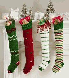 Stockings for Christmas....love these knit stockings, so Dr. Seuss