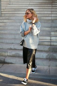 Knit and leather on a chilly day.