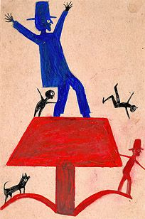 Bill Traylor, Untitled, ca. 1939 - 1942, Poster paint and pencil on cardboard, 11 3/4 x 7 3/4 inches. High Museum of Art, Atlanta, Georgia.