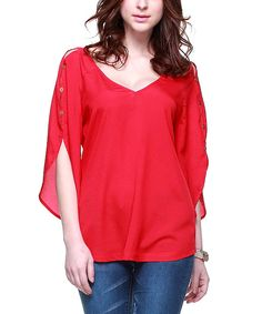 Look at this Zuri Zuri by Flora Scarlet Button-Sleeve V-Neck Top on #zulily today!