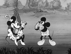 Lady Jam - Mickey and Minnie Mouse Playing Music. Mickey Mouse Cartoon, Vintage Mickey Mouse, Mickey Mouse And Friends, Vintage Cartoon, Disney Mickey Mouse, Minnie Mouse, Retro Cartoons, Old Cartoons, Disney Cartoons