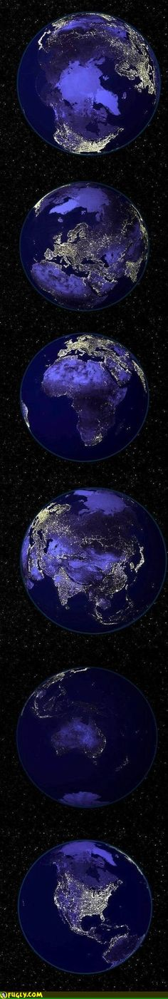 Planet earth at night. Earth And Space, Cosmos, Earth At Night, To Infinity And Beyond, Pics Art, Science And Nature, Earth Science, Life Science, Planet Earth