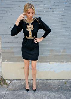 Vintage Sweater BOW Rhinestone COCKTAIL Dress by heightofvintage, $72.00