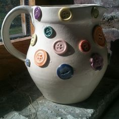 Pottery button jug