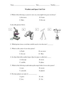 This is a third grade, multiple choice, test created to support Tennessee State Standards, and to model the TCAP. It covers the solar system, atmos...