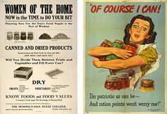 Posters from World War I (left) were often stern and text-heavy, while by World War II they had begun to reflect the more colorful, upbeat style of commercial advertising. Left: Pennsylvania poster, c. Office of War Information poster, American Spirit, American Food, Food Rations, Information Poster, Make Do And Mend, Native American History, British History, Vintage Labels, Vintage Ads