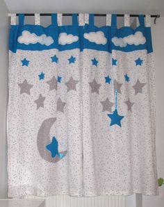 Paire de rideaux  avec appliqués : nuages, étoiles, lune et nuage amovible sur l'un des rideaux ! 120 X 180