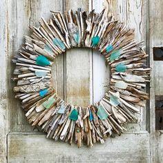 Driftwood Wreath - Maine Made Wreath - Turquoise-Aqua-Sea Foam Green-White Sea Glass Accents - Driftwood Decor - Driftwood Wall Art Driftwood Wreath, Driftwood Wall Art, Driftwood Crafts, Twig Crafts, Driftwood Ideas, Aqua, Turquoise, New England Style Homes, Maine Beaches