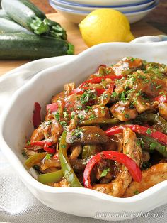 Sherry Chicken Saute with Mushrooms & Peppers delivers great Italian-American flavor to your table with just 6 net carbs. | low carb, gluten-free, dairy-free. Paleo |lowcarbmaven.com