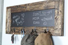 Rustic Chalkboard Key Holder Hat Rack Entry by TRHOutfitterLLC