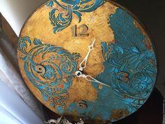 Купить Часы настенные Бирюзовая Галактика - бирюзовый, часы, часы настенные…