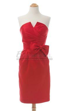 Red Satin Short Strapless Bridesmaid Dress BDS-CA241 - BridesmaidCA.com