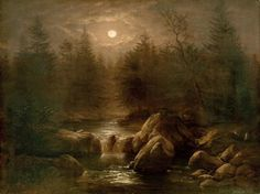 Forest and waterfall in the moonlight by Carl Gustav Carus (1789 – 1869)