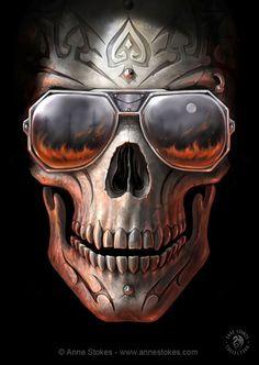 Fantastic World - Tribal - Anne Stokes - Hellfire . - Fantastic World – Tribal – Anne Stokes – Hellfire - Anne Stokes, Art Harley Davidson, Totenkopf Tattoos, Poster Art, Skull Tattoos, Tatoos, Grim Reaper, Skull And Bones, Dark Art