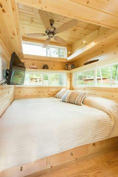 Love, love, love this bedroom area in a tiny house without a loft!!!!!88