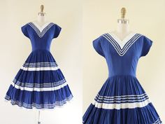 Hey, I found this really awesome Etsy listing at https://www.etsy.com/listing/200375727/1950s-dress-vintage-50s-dress-blue