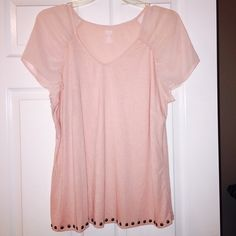 Pretty blush baby pink top studded detail 1x Such a pretty baby blush pink top with studding around bottom hem. Sheer sleeves. Perfect for spring and summer. Size 1x Ana brand. a.n.a Tops