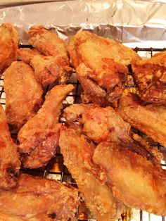Today is National Chicken Wing day! I love wings!! But I hate deep frying because my whole house smells for a week. I found a recipe for oven fried wings on the Internet. I was a doubting Thomas but boy o'boy they were awesome!!! Crispy on the outside tender on the inside. The secret weapon...Ba...
