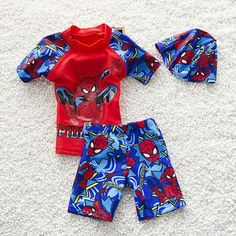 2016 Baby Boys Spiderman Swimming Suits(top+pant+cap) Summer Kids Boy Cartoon Hot Bathing Swimwear Children Swim Trunk Shorts