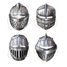MEDIEVAL-KNIGHT-SUIT-OF-ARMOUR-CARDBOARD-PARTY-MASKS-ADULT-SIZE-PACK-OF-4