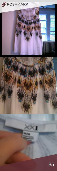 Forever 21 feather tank top Gently worn Forever 21 tank top with feathers printed on it. Forever 21 Tops Tank Tops