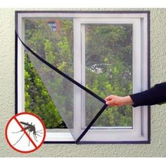 The Magneto Mesh Screen mosquito net prevents flies, mosquitoes, bees and other flying insects from entering. This adhesive mosquito net is ideal to protect your windows and easy to put up (includes a h. Window Mesh Screen, Window Types, Net Curtains, Mosquito Net, Anti Mosquito, House Windows, Screen Design, Window Frames, Roman Shades