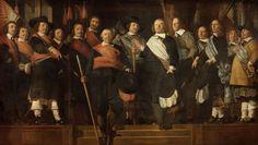 Officieren en vaandeldragers van de Oude Schutterij - Caesar van Everdingen…)Trompe l'oeil painting