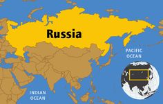 Important topics and facts about Russia. (map, flag, natural resources, native animals, land features, government, economics, history, and famous people.)